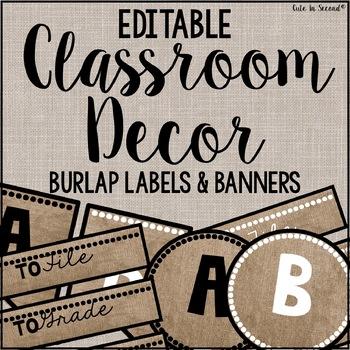 Editable Burlap Classroom Decor Flags, Circles, Squares, R