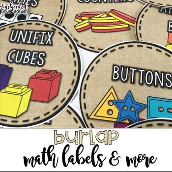 Burlap Math Labels and more