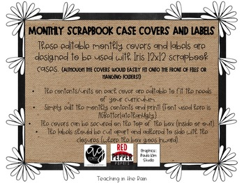 Burlap Monthly Scrapbook Case Covers & Labels {Editable!}