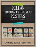 Burlap Months of the Year Posters with a Splash of Teal and Lime