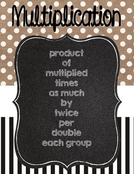 Burlap Multiplication and Division Key Words