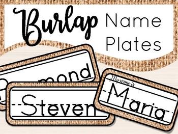 Burlap Name Tags