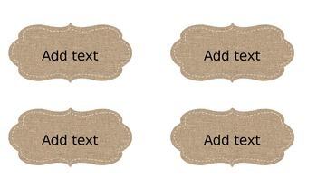Burlap Name Tags - Editable