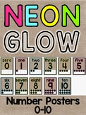 Burlap & Neon Brights Number Posters 0-10 Classroom Decor