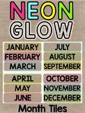 Neon & Burlap Months of the Year Calendar Labels Classroom Decor