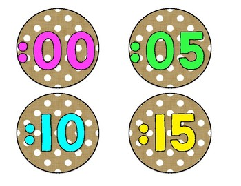 Burlap, Neon and Polka Dot Clock Labels