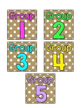 Burlap, Neon and Polka Dot Group Labels