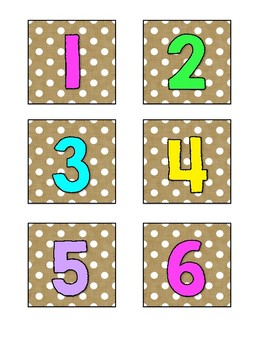 Burlap, Neon and Polka Dot Number Labels