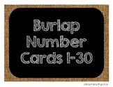 Burlap Number Cards 1-30