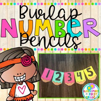Burlap Number Pencils