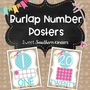 Burlap Number Posters 0-20