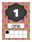 Burlap Number Posters with Ten Frames 1-100