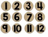 Burlap Numbered Circle Labels