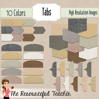 Burlap Page Accents Frames, Headers, Tabs, and Shapes Clipart Bundle