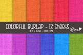 "Burlap Paper - ""Colorful"""