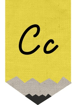 Burlap Pencil Banner Set - Cursive style