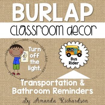 Burlap Restroom Reminders and Transportation Signs