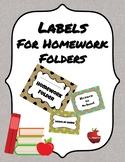 Burlap Return to School/Leave at Home Labels for Homework Folder