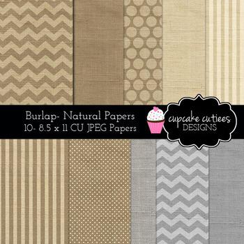 Burlap Rustic Papers Digital Papers- 8.5 X 11 JPEG