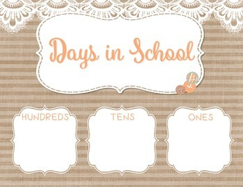 Burlap Shabby Chic Classroom Calendar Set