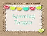 Burlap Shabby Chic Learning Targets Set