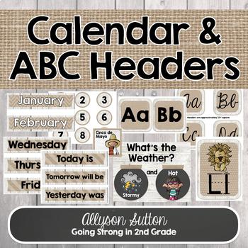 Burlap, Shiplap, & Chalkboard Too! ABC Headers & Calendar Pieces
