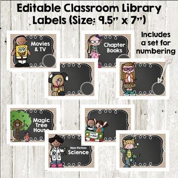 Burlap, Shiplap & Chalkboard Too! Classroom Labels & Editable Library Labels