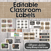 Burlap, Shiplap & Chalkboard Too! Classroom Labels & Editable Library Labels
