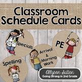 Burlap, Shiplap, & Chalkboard Too!  Classroom Schedule Circle Cards
