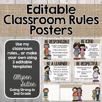 Burlap, Shiplap, & Chalkboard Too! Editable Classroom Rules Posters