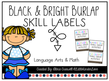 Burlap Small Group Activity Labels