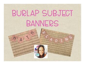 Burlap Subject Banners