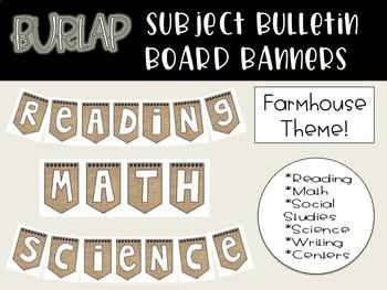 Burlap Subject Banners - Farmhouse Theme