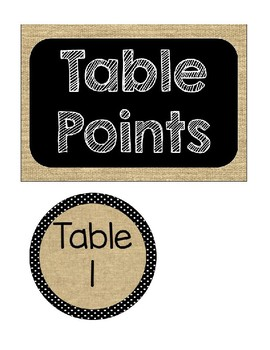 Burlap Table Points