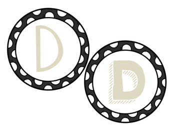 Burlap Tan Polka Dot Letters