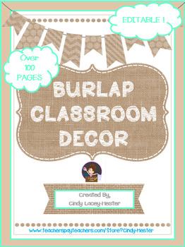 Burlap & Teal Classroom Decor - EDITABLE
