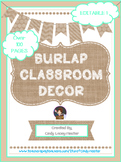 Burlap & Teal Classroom Theme Decor Bundle - EDITABLE