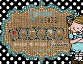 Cursive Alphabet Mini Posters -Turquoise, Burlap, and Black and White Polka Dots
