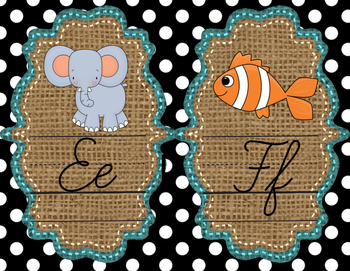 Cursive Alphabet Mini Posters -Turquoise, Burlap, and Black and White Polka Dots
