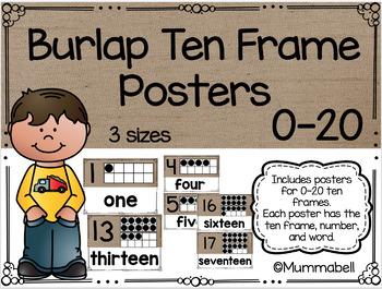 Burlap Ten Frame Posters