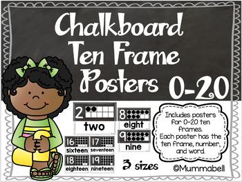 Chalkboard Ten Frame Posters