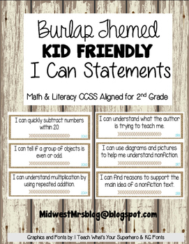 Burlap Themed 2nd Grade Kid Friendly I Can Statements