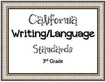 Burlap Themed 3rd Grade Writing/Language Standards
