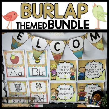 Burlap-Themed Classroom Decor BUNDLE