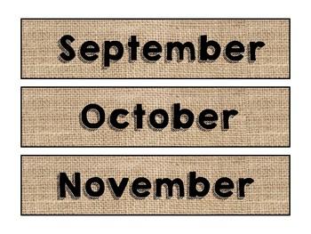 Burlap Themed Months for Calendar