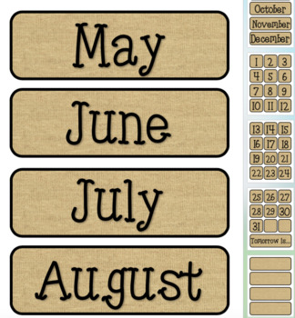 Burlap Themed Pocket Chart Subject Schedule Cards and Calendar