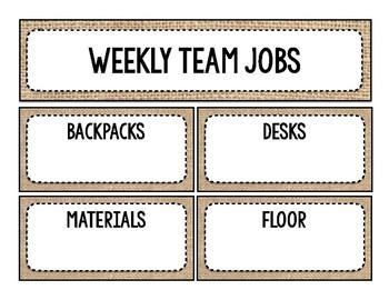 Burlap Themed Team Jobs