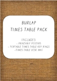 Burlap Times Table Posters, Key Rings and Desk Mat