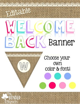 Burlap Welcome Back Banner {Editable}