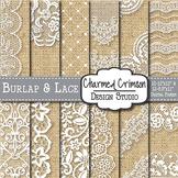 Burlap & White Lace Digital Paper 1470